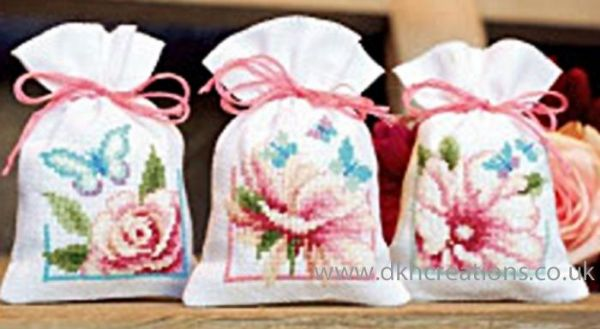 Flowers And Butterflies I Pot Pourri Bags Cross Stitch Kit
